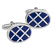 LAPIS & MOTHER-OF-PEARL DIAGONAL GRID CUFFLINKS