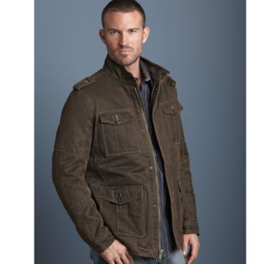 Johnston Murphy Jackets are offered in an assortment of colors, clothing sizes, and materials. Look out for assorted materials including leather or cotton. Look for colors like brown and black as well as others.