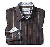 TAILORED FIT SPACED WIDE STRIPE SHIRT