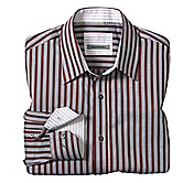 TAILORED FIT OFFSET TILE STRIPE SHIRT