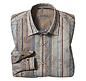 SLIM FIT ABSTRACT-PRINTED JACQUARD STRIPE SHIRT