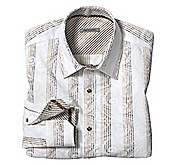 SLIM FIT FLOCKED PAISLEY PANEL STRIPE SHIRT