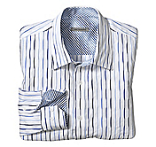 TAILORED FIT PLEATED STRIPE SHIRT