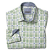 TAILORED FIT LARGE ACCENTED SQUARE PLAID SHIRT