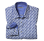 TAILORED FIT GEOMETRIC CHECK SHIRT