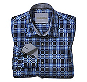 TAILORED FIT ACCENTED OMBRÉ SQUARES SHIRT