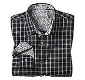TAILORED FIT HOUNDSTOOTH ACCENTED CHECK SHIRT