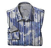 SLIM FIT OVER-DYED TEXTURED STRIPE SHIRT