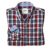 SLIM FIT WASHED LARGE PLAID SHIRT