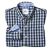 SLIM FIT WASHED PLAID SHIRT