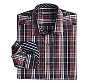 TAILORED FIT MIDNIGHT PLAID SHIRT