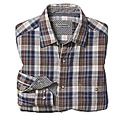 TAILORED FIT DOUBLE-LAYER WASHED PLAID SHIRT