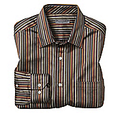 TAILORED FIT TEXTURED MINI-AWNING STRIPE SHIRT