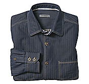 TAILORED FIT TONAL STRIPE DENIM SHIRT