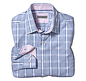 TAILORED FIT RAISED GLEN PLAID SHIRT