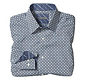 TAILORED FIT LINKED SQUARES PRINT SHIRT