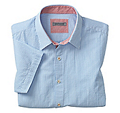 TAILORED FIT PINSTRIPE SEERSUCKER CAMP SHIRT