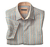 TAILORED FIT AWNING STRIPE CAMP SHIRT