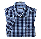 TAILORED FIT EXPLODED GRID GINGHAM CAMP SHIRT