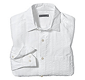 TAILORED FIT SEERSUCKER TEXTURED STRIPE SHIRT