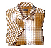 CLASSIC FIT SEERSUCKER MINI GINGHAM CAMP SHIRT