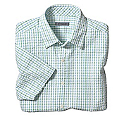 CLASSIC FIT SEERSUCKER TATTERSALL CAMP SHIRT