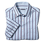 TAILORED FIT SEERSUCKER WIDE STRIPE SHIRT
