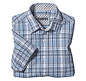 TAILORED FIT SEERSUCKER VARIEGATED PLAID SHIRT