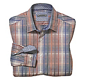TAILORED FIT TEXTURED OMBRÉ CHECK SHIRT