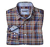 TAILORED FIT HERRINGBONE PLAID SHIRT