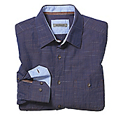 TAILORED FIT WASHED SLUB TWO-TONE SHIRT
