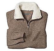 SHERPA-TRIMMED QUARTER-ZIP SWEATER