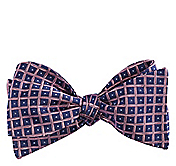 DOTTED CHECK SILK BOW TIE