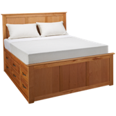 Queen Pedestal Bed with Underbed Storage Drawers