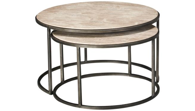 Hammary modern basics modern basics nesting round cocktail for Modern nesting coffee tables