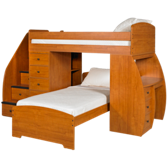 Twin over Twin Loft Bed with Desk, Chest and Stairs