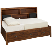 Braxton Full Lounge Bed with Shelves and Storage
