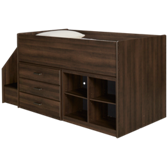 Juararo Twin Captain Bed with Bookcase and Storage Drawers