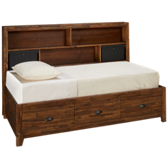 Braxton Twin Lounge Bed with Shelves and Storage