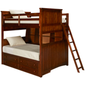Full over Full Bunk Bed with Bookcase and Underbed Storage