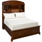 Full Bookcase Bed with Storage Footboard