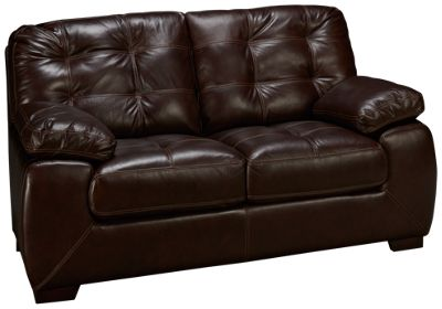simon li walnut leather loveseat