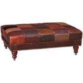 Patchwork Leather Cocktail Ottoman