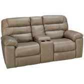 Leather Loveseat Recliner with Console