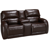 Leather Power Sofa Recliner with Console