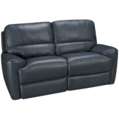 Blue Leather Power Loveseat Recliner