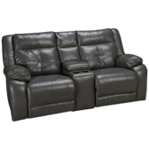 Bonded Leather Loveseat Recliner with Console