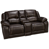 Blackjack Bonded Leather Loveseat Recliner with Console