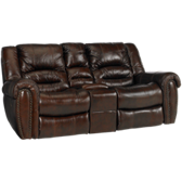 Leather Gliding Loveseat Recliner with Console