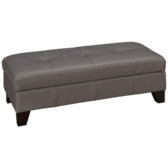 Leather Accent Storage Ottoman